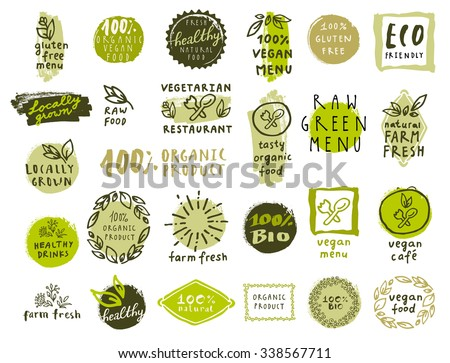 Retro set of 100% bio, organic, gluten free, eco, healthy food labels. Hand drawn logo templates. Vintage elements for restaurant menu or organic food package. Vector health food badges, hipster style Royalty-Free Stock Photo #338567711