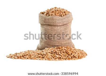 Bag with grain isolated on a white #338596994