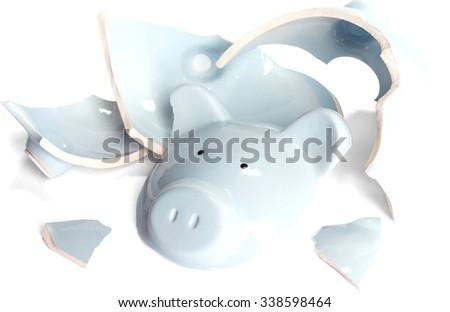 Broken piggy bank - Isolated #338598464
