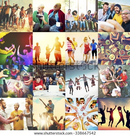 Diverse Ethnic Unity Party Togetherness Happiness Concept #338667542