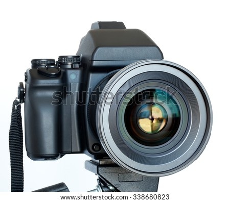 Camera with the lens closeup isolated on white background #338680823