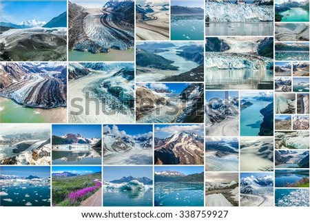 Glaciers picture collage of different famous National Parks of Alaska including Denali, Wrangell St. Elias, Kenai Fjords, Matanuska Glacier and Glacier Bay, United States.