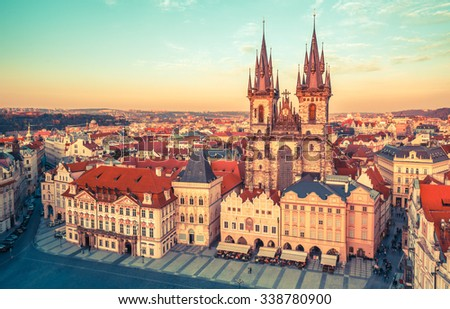 Church of our lady before tyn on Old Town Square Prague Czech republic. Illustration #338780900