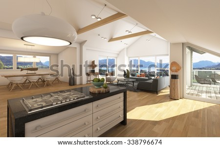 Big Apartment With A Lake View 3D Rendering #338796674