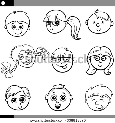 Black and White Cartoon Illustration of Cute Kids Faces Set