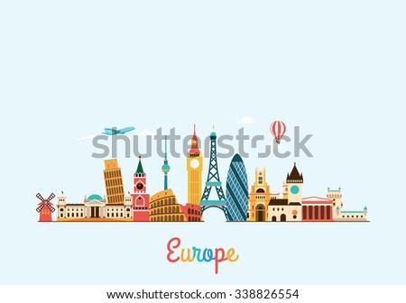 Europe skyline. Travel and tourism background. Vector flat illustration #338826554