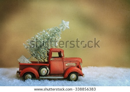 Toy car with Christmas tree
