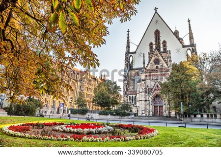 Facade of St. Thomas Church (Thomaskirche) in Leipzig, Germany #339080705