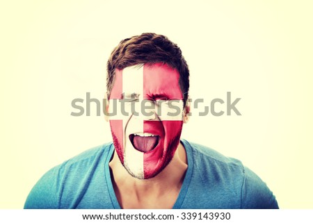 Screaming man with Denmark flag painted on face. #339143930