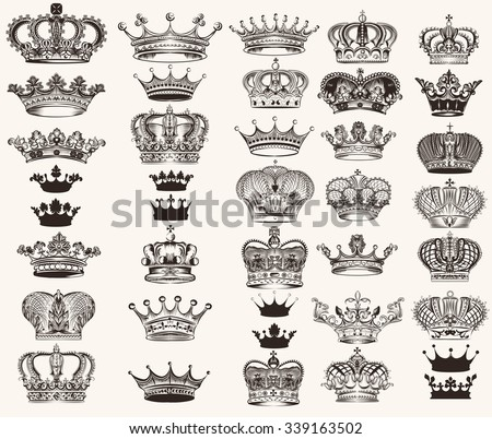 Mega collection or set of vector high detailed crowns for design