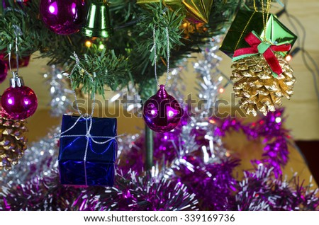 Christmas background with a  ornament,  gift box on  tree #339169736