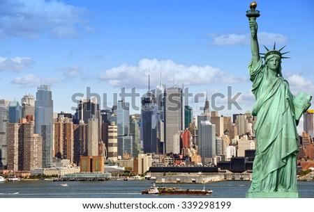 new york city cityscape skyline with statue of liberty. epic new york skyline over manhattan with statue of liberty over hudson river. famous american landmark and usa travel location.  #339298199