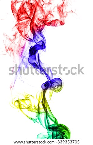 Abstract colorful smoke on white background. #339353705