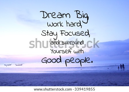 Inspirational quote on blurred beach background Royalty-Free Stock Photo #339419855