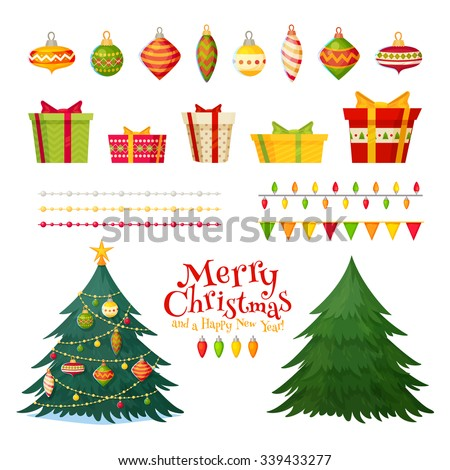 Christmas greetings set with isolated decorative winter objects - baubles, toys, gift boxes, garlands, xmas trees on white background