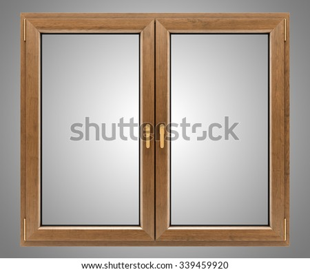 brown wooden window isolated on gray background #339459920