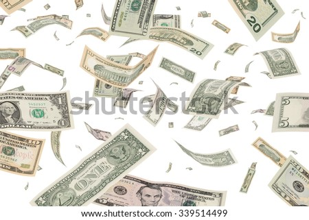 Dollar banknotes money rain