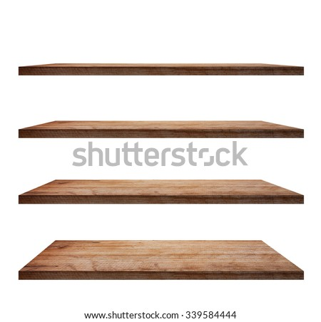 collection of wooden shelves on an isolated white background, Objects with Clipping Paths for design work Royalty-Free Stock Photo #339584444