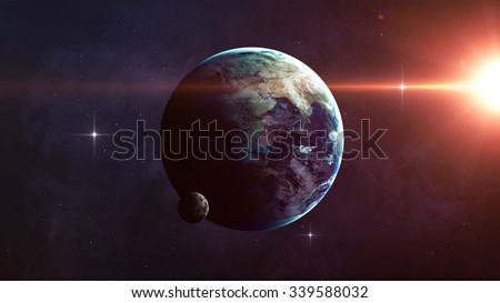 High Resolution Planet Earth view. The World Globe from Space in a star field showing the terrain and clouds. Elements of this image are furnished by NASA #339588032
