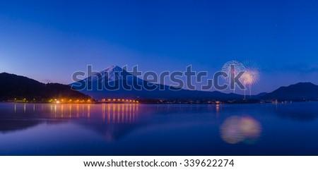 Mount fuji at Lake kawaguchiko  twilight   , firework #339622274