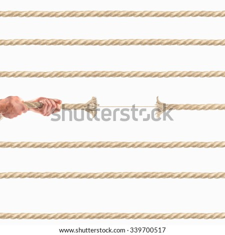 Hands of people pulling the rope on white background.  Competition concept #339700517
