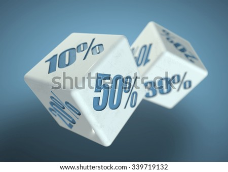 Percentage savings on dice side. Rolling dice to determine the percentage discount you can get. Concept for sale, deal, and discounted savings at shop or store.  #339719132