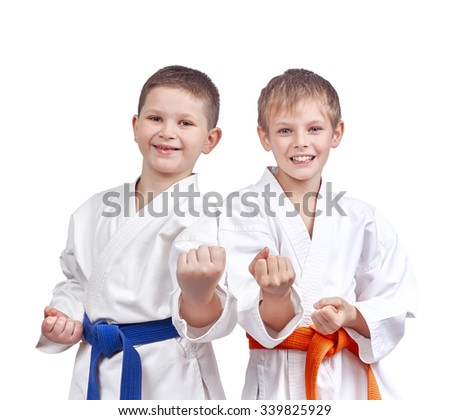 Two athletes doing karate technique #339825929
