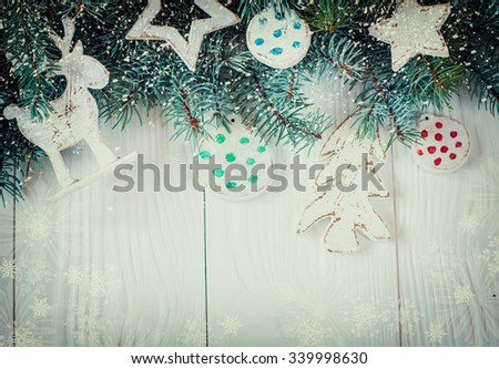 Christmas decoration on abstract background,vintage filter,soft focus #339998630