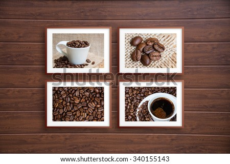 Collage frames on  wooden panels wall, coffee motif posters, interior decoration #340155143