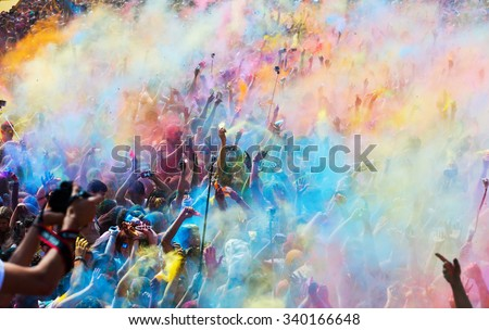 BARCELONA, SPAIN - APRIL 12, 2015:  People doing selfie during   Festival Holi in Barcelona. It is traditional holiday of Indian culture #340166648