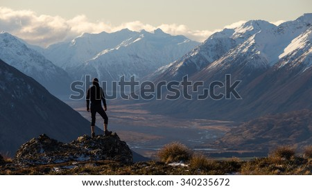Selfportrait at Peak Hill. South Island of New Zealand #340235672