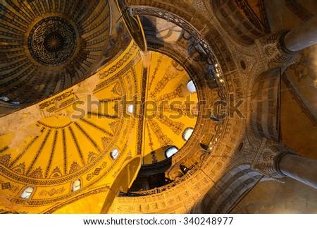 Interiorof Haghia Sophia, Istanbul. One of the oldest a landmarks of Turkey. #340248977