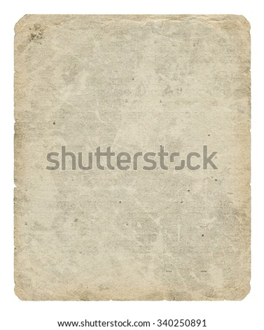 Vintage paper blank with torn edges and old spots isolated on white background. #340250891