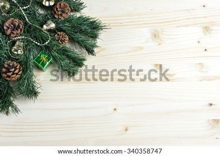 Christmas decoration on artificial Christmas branch set on white pine background #340358747
