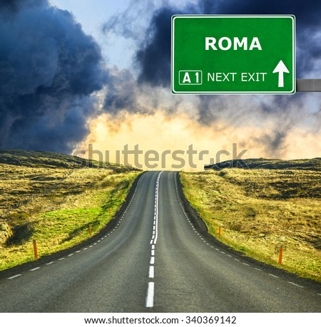 ROMA road sign against clear blue sky #340369142