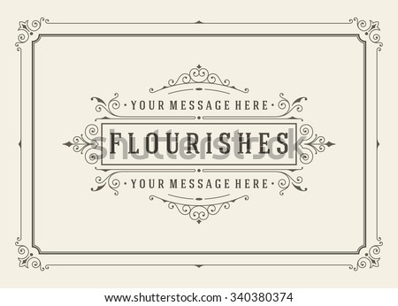 Vintage ornament greeting card vector template. Retro wedding invitations, advertising or other design and place for text. Flourishes frame. Royalty-Free Stock Photo #340380374