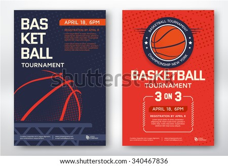Basketball tournament, modern sports posters design. Vector illustration.