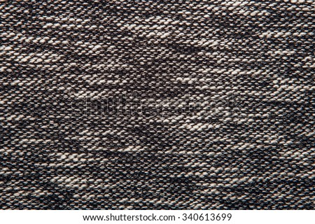 Grey tweed like texture, gray wool pattern, textured salt and pepper style black and white melange upholstery. Fabric background copy space #340613699