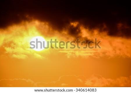 Sun Setting on the Atlantic Ocean in Tenerife Canary Island Spain #340614083