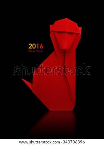 2016 new year simbol origami red monkey on a black background