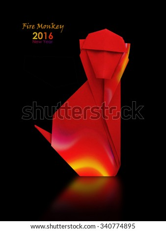 2016 new year symbol origami red fire monkey on a black background
