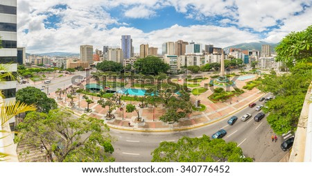 Panoramic view towards Francia Square (also known as Altamira Square), in the heart of Caracas, capital city of Venezuela. #340776452