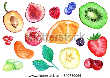 Watercolor kiwi strawberry blueberry blackberry raspberry orange banana grape mint mandarin clementine cherry lychee fig plum pomegranate fruit berry set isolated #340780064