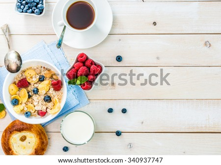 healthy breakfast with text space top view Royalty-Free Stock Photo #340937747