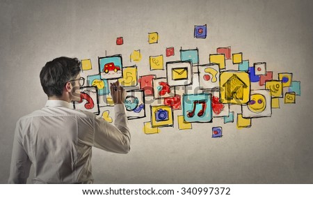 Man drawing apps icons #340997372