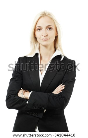 Young businesswoman on white background #341044418