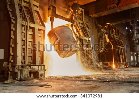 Metal smelting furnace in steel mills #341072981