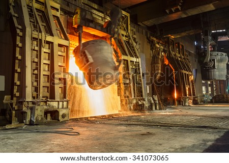 Metal smelting furnace in steel mills #341073065