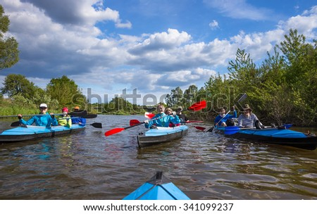 Spring and sport picture in river kayaking