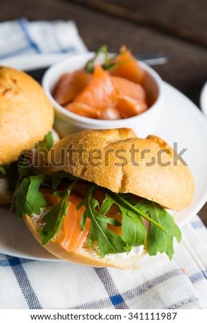 Sandwich with cream cheese salmon and arugula #341111987